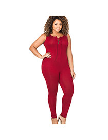 Fashion Claret Red Pure Color Decorated Round Neckline Simple Belt Jumpsuit