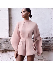 Fashion Pink Pure Color Decorated Bat Sleeve Round Neckline Simple Jumpsuit