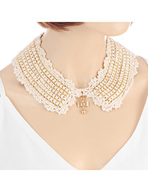 Fashion White Bowknot Pendant Decorated Knitting Design Simple Necklace