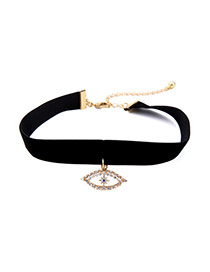 Fashion Black Hollow Out Eye Pendant Decorated Simple Choker