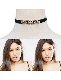 Fashion Black Hollow Out Flower Decorated Pure Color Simple Choker