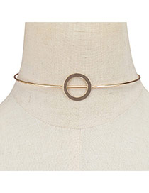 Fashion Gold Color Round Shape Decorated Pure Color Simple Choker