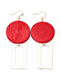 Fashion Red Square Pendnat Decorated Round Design Earring