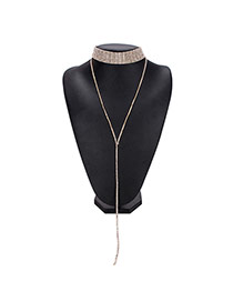 Luxury Gold Color Tassel Pendant Decorated Simple Chocker