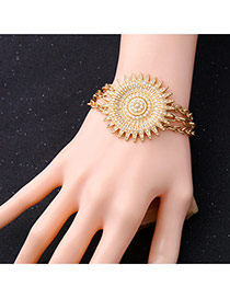 Fashion Gold Color Big Sunflowe Shape Decorated Multilayer Bracelet