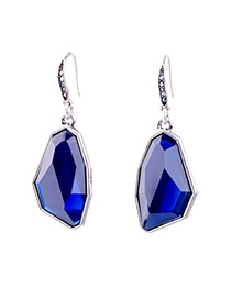 Luxury Blue Irregular Stone Shape Decorated Simple Earring