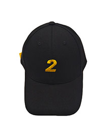 Fashion Black Number 2 Pettern Decorated Simple Hat