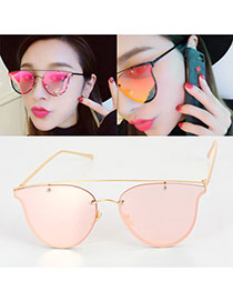 Fashion Champagne Wing Shape Decorated Pure Color Simple Sunglasses