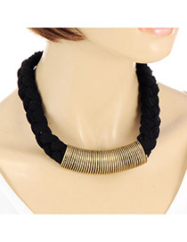 Retro Black Metal Decorated Weaving Chain Simple Chocker