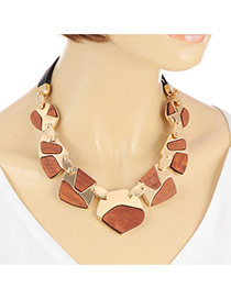 Retro Brown Geometric Stone Shape Decorated Simple Chocker