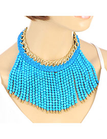 Bohemia Blue Beads Weaving Tassel Pendant Decorated Double Layer Necklace