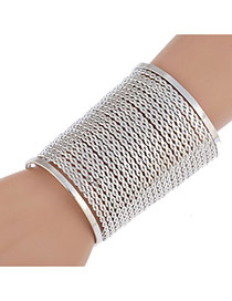 Fashion Silver Color Metal Decorate4d Pure Color Simple Bracelet