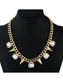 Fashion Gold Color Irregular Shapes Pendants Decorated Simple Necklace