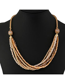 Fashion Coffee Round Shape Decorated Simple Long Chain Multilar Necklace