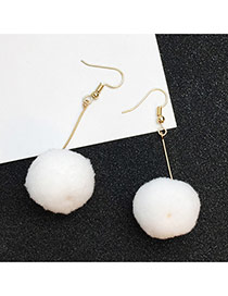 Elegant White Fuzzy Ball Pendant Decorated Pure Color Simple Earrings