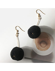 Elegant Black Fuzzy Ball Pendant Decorated Pure Color Simple Earrings