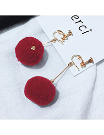 Elegant Claret Red Fuzzy Ball Pendant Decorated Pure Color Simple Earrings