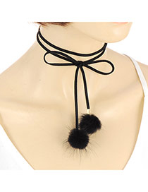 Fashion Black Two Fuzzy Balls Pendant Decorated Double Layer Simple Choker