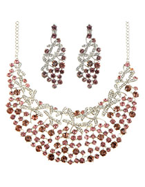 Luxury Purple Diamond Decorated Hollow Out Shape Jewelry Sets