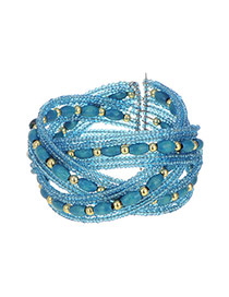 Fashion Blue Beads Weaving Decorated Simple Cross Bracelet