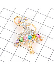 Luxury Gold Color Round Diamond Decorated Ballet Girl Shape Brooch