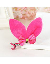 Lovely Plum Red Bowknot Decorated Rabbit Ears Shape Pure Color Simple Hair Clip