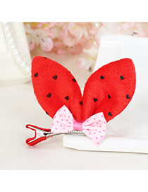 Lovely Red Dot Decorated Rabbit Ears Shape Color Matching Simple Hair Clip