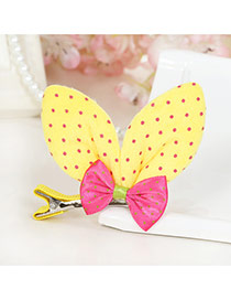 Lovely Khaki Dot Decorated Rabbit Ears Shape Color Matching Simple Hair Clip