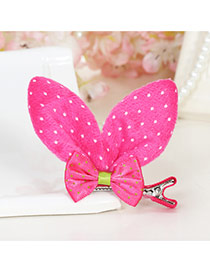 Lovely Red Bowknot Decorated Rabbit Ears Shape Pure Color Simple Hair Clip