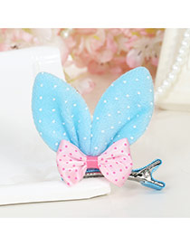 Lovely Apricot Dot Decorated Rabbit Ears Shape Color Matching Simple Hair Clip