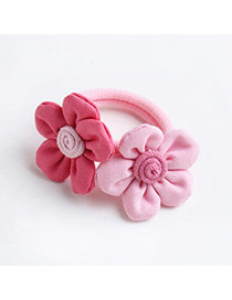 Fashion Plum Red+pink Flowers Decorated Color Matching Design Simple Hair Rope