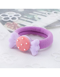 Fashion Purple Candy Shape Decorated Color Matching Design Hair Rope