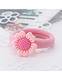 Fashion Pink Sunflower Decorated Color Matching Simple Hair Rope