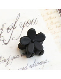 Lovely Black Pure Color Decorated Folower Shape Design Hair Claw