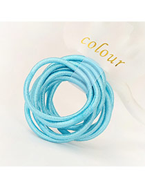 Fashion Blue Pure Color Decorated Simple Hair Band (10pcs)