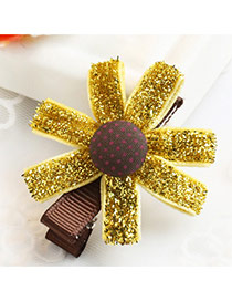 Fashion Yellow Dot Decorated Sunflower Design Simple Hair Clip