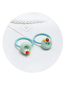 Sweet Light Green Doughnut Shape Decorated Pure Color Hair Band (2pcs)