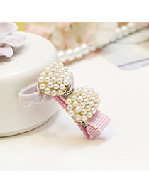 Sweet Pink Pearl Bowknot Shape Decorated Simple Hair Clip