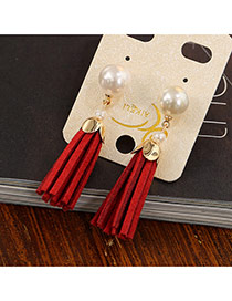 Fashion Red Short Tassel&pearl Decorated Simple Earrings