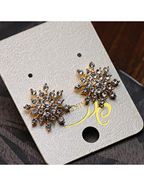 Elegant Gold Color Diamond Decorated Simple Snowflower Design Earrings