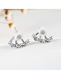 Elegant Silver Color Diamond Decorated Simple Flower Decorated Simple Earrings