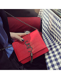 Fashion Red Metal Tassel Pendant Decorated Simple Square Shape Bag