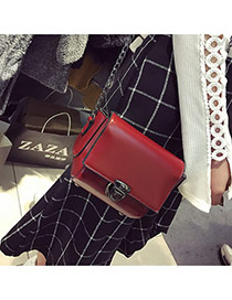 Retro Red Pure Color Decorated Simple Long Chain Bag