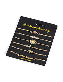 Fashion Gold Color Bead&diamond Decorated Hollow Out Design Simple Bracelet (6pcs)
