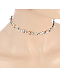 Fashion Silver Color Round Shape Diamond Decorated Hollw Out Design Choker
