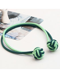 Sweet Green+blue Knots Decorated Color Matching Double Layer Simple Hair Band