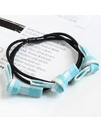 Sweet Green Grid Decorated Multi-layer Bowknot Design Hair Band