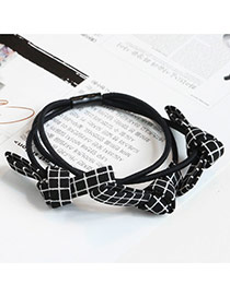 Sweet Black Grid Decorated Bowknot Design Multi-layer Simple Hair Band