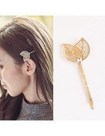 Trendy Gold Color Leaf Decorated Hollow Out Design Pure Color Hair Pin