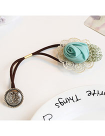 Trendy Green Flower&round Shape Pendant Decorated Simple Hair Band
